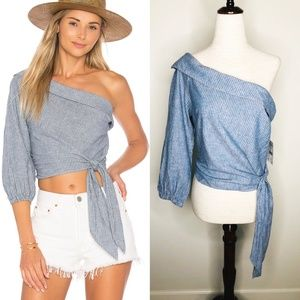 Free People Get Down One Shoulder Shirt Top Blouse